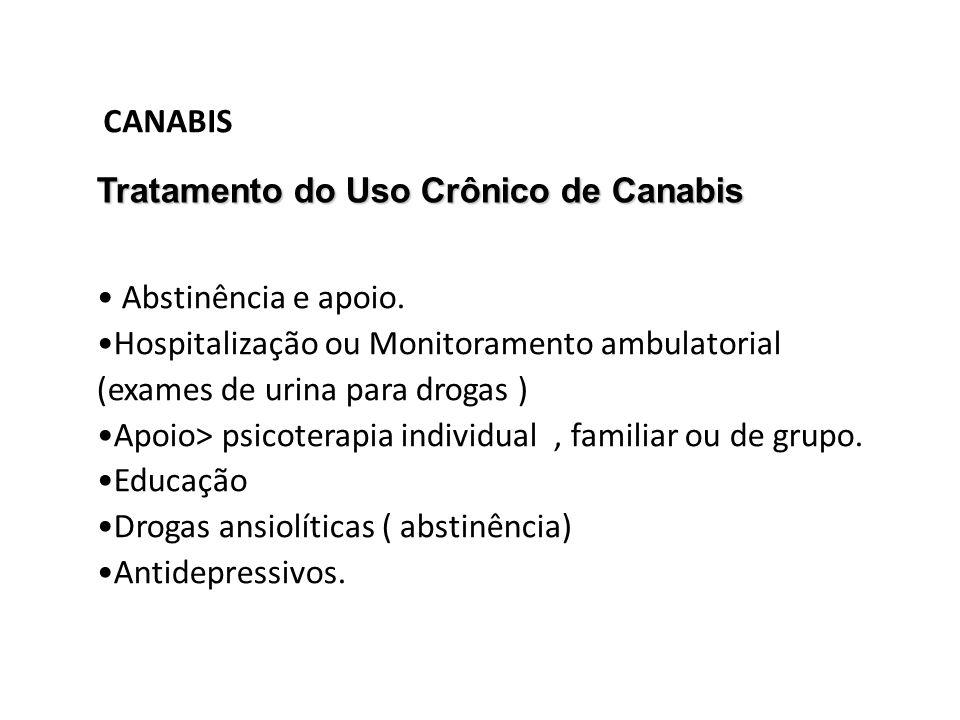 CANABIS Tratamento do Uso Crônico de Canabis. Abstinência e apoio. Hospitalização ou Monitoramento ambulatorial (exames de urina para drogas )