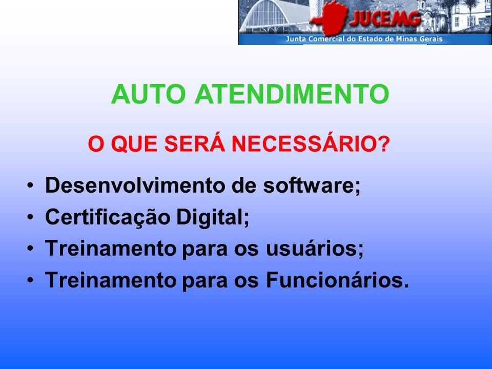 AUTO ATENDIMENTO O QUE SERÁ NECESSÁRIO Desenvolvimento de software;