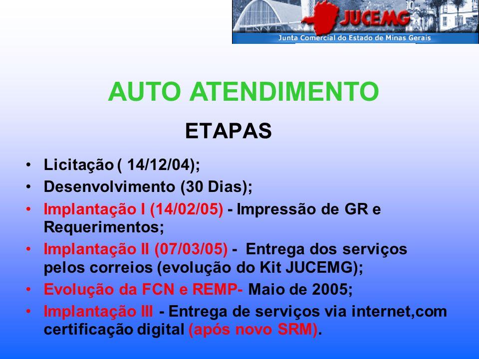 AUTO ATENDIMENTO ETAPAS Licitação ( 14/12/04);
