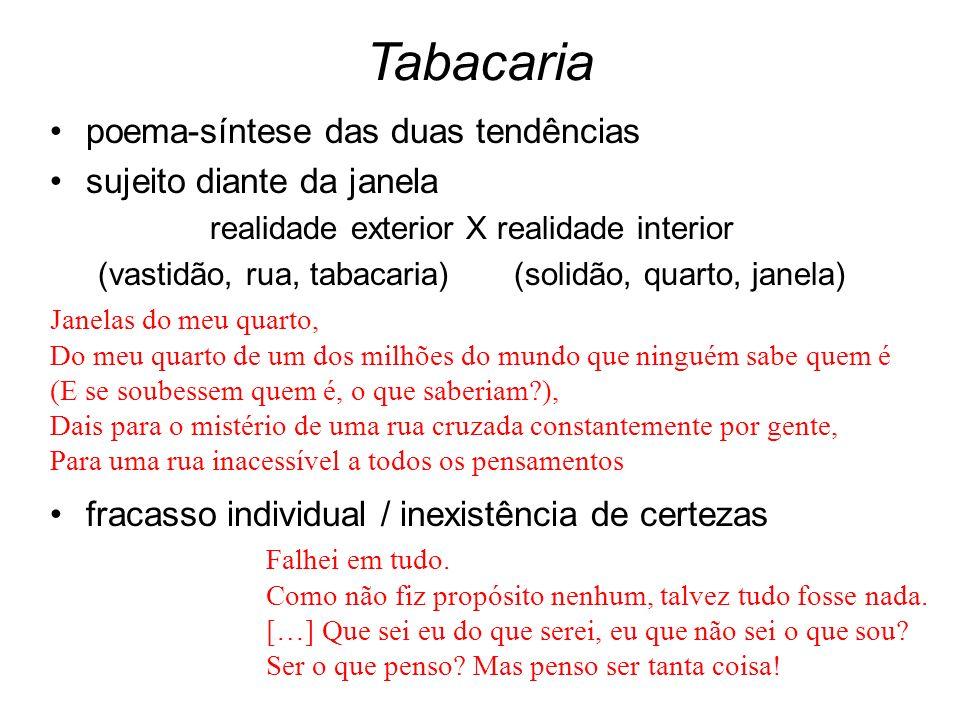 Tabacaria poema-síntese das duas tendências sujeito diante da janela