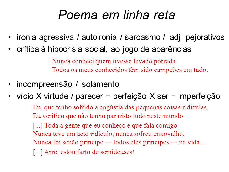 Poema em linha reta ironia agressiva / autoironia / sarcasmo / adj. pejorativos. crítica à hipocrisia social, ao jogo de aparências.