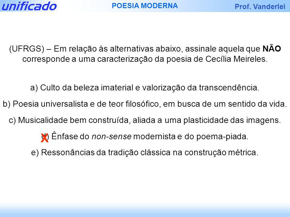 (UFRGS) – Em relação às alternativas abaixo, assinale aquela que NÃO corresponde a uma caracterização da poesia de Cecília Meireles.