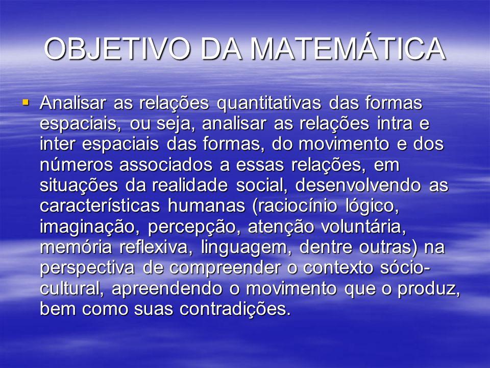 OBJETIVO DA MATEMÁTICA