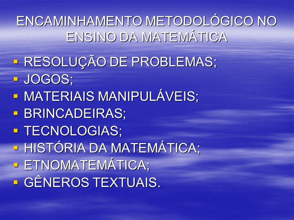 ENCAMINHAMENTO METODOLÓGICO NO ENSINO DA MATEMÁTICA