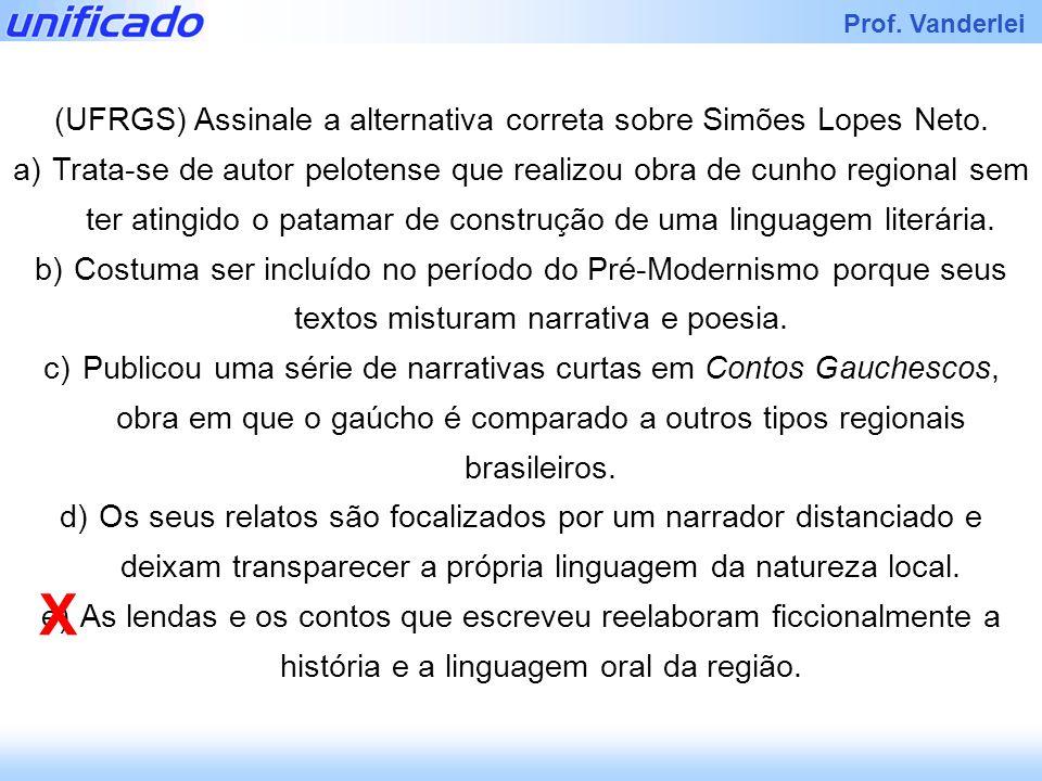 (UFRGS) Assinale a alternativa correta sobre Simões Lopes Neto.
