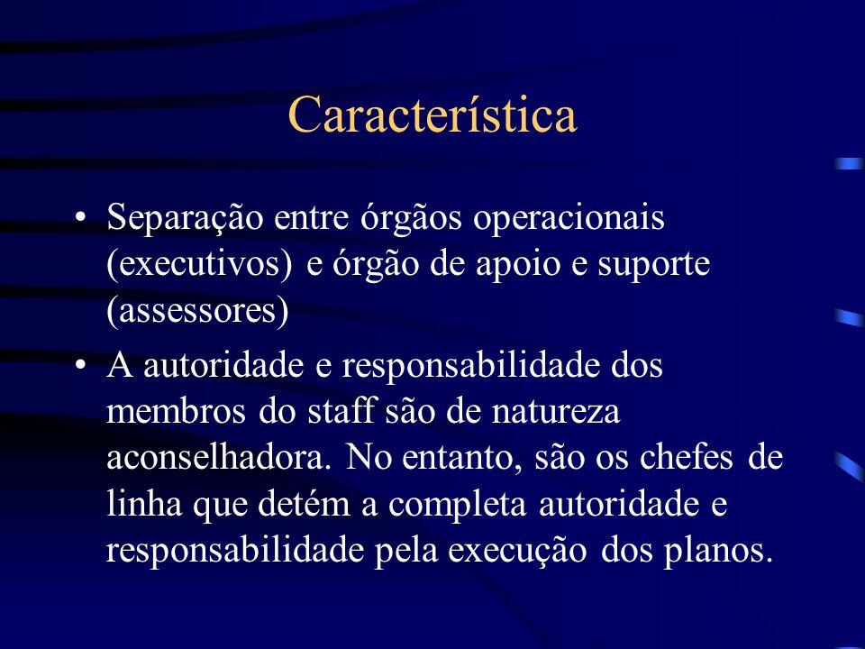 Característica Separação entre órgãos operacionais (executivos) e órgão de apoio e suporte (assessores)