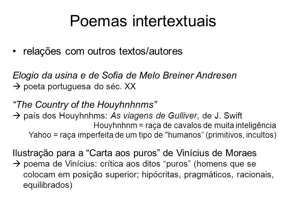 Poemas intertextuais relações com outros textos/autores