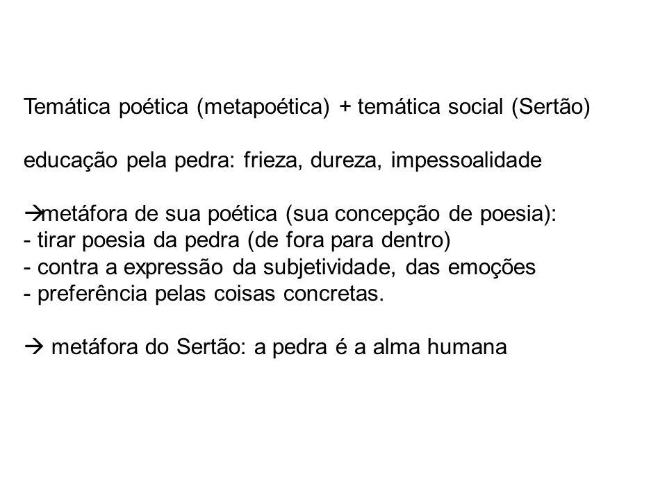 Temática poética (metapoética) + temática social (Sertão)