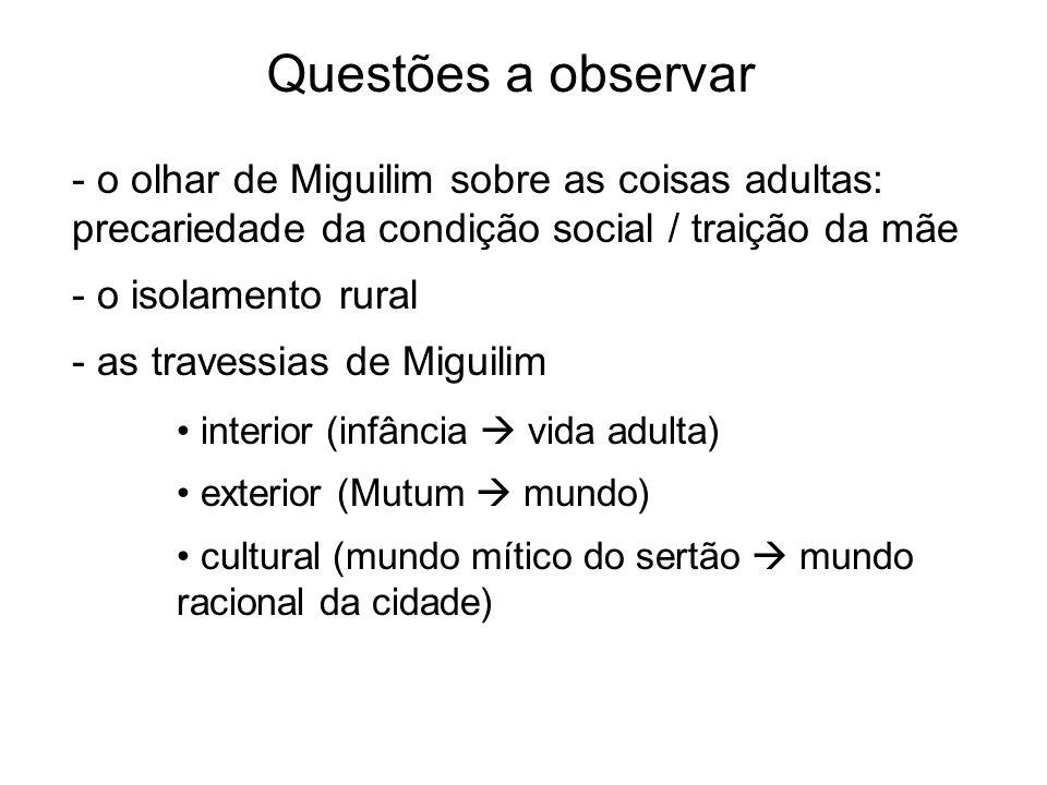 Questões a observar - o olhar de Miguilim sobre as coisas adultas: precariedade da condição social / traição da mãe.