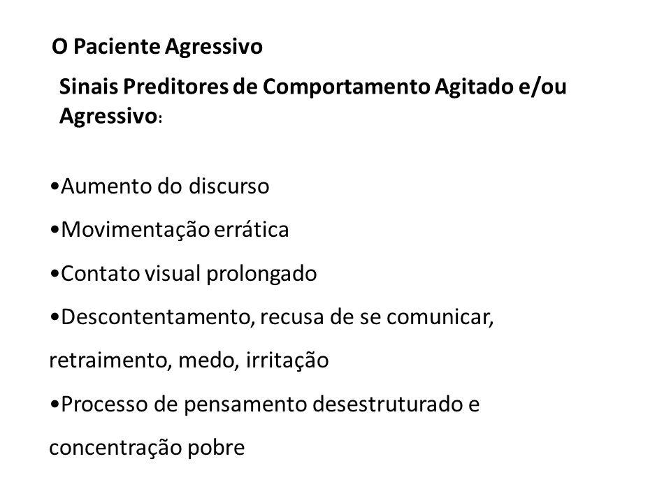 O Paciente Agressivo Sinais Preditores de Comportamento Agitado e/ou Agressivo: Aumento do discurso.