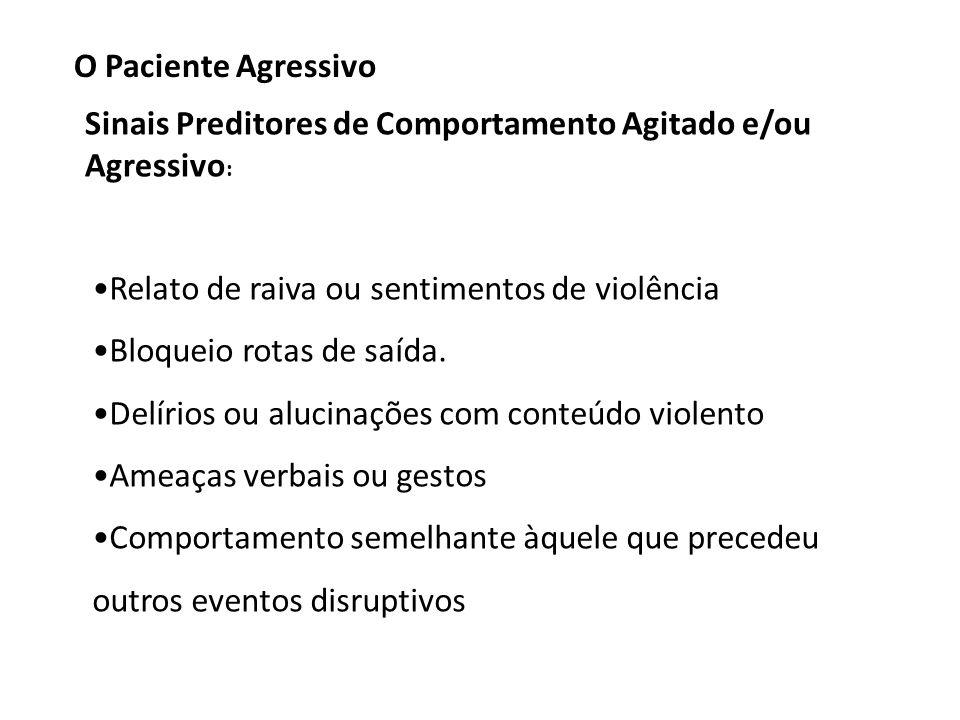 O Paciente Agressivo Sinais Preditores de Comportamento Agitado e/ou Agressivo: Relato de raiva ou sentimentos de violência.