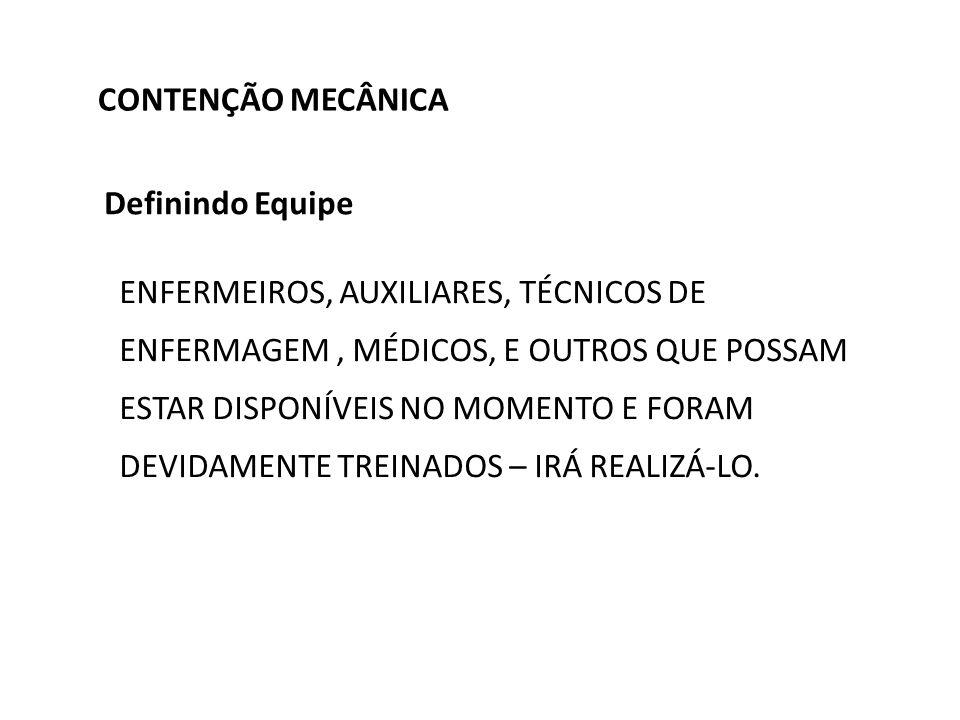 CONTENÇÃO MECÂNICA Definindo Equipe.