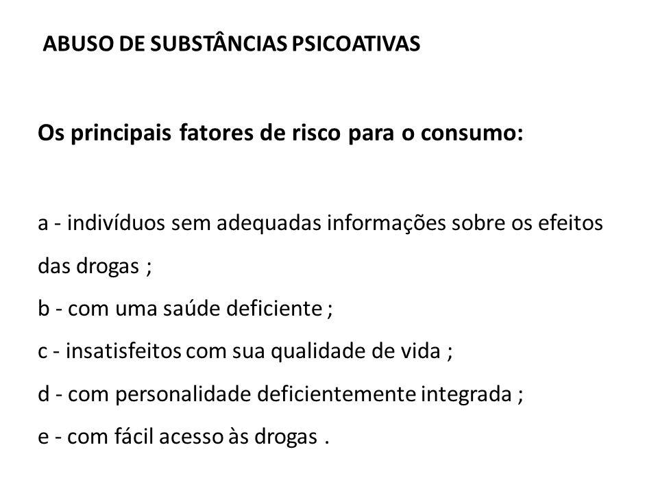 Os principais fatores de risco para o consumo: