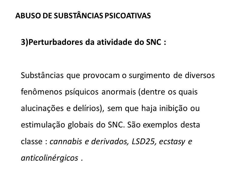 3)Perturbadores da atividade do SNC :