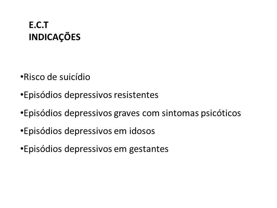E.C.T INDICAÇÕES. Risco de suicídio. Episódios depressivos resistentes. Episódios depressivos graves com sintomas psicóticos.