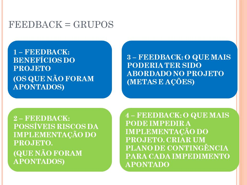 FEEDBACK = GRUPOS 1 – FEEDBACK: BENEFÍCIOS DO PROJETO