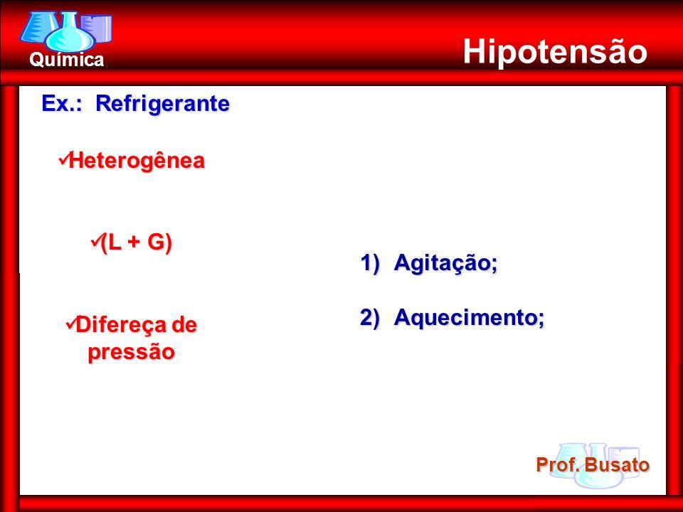 Hipotensão Ex.: Refrigerante Heterogênea (L + G) Difereça de pressão