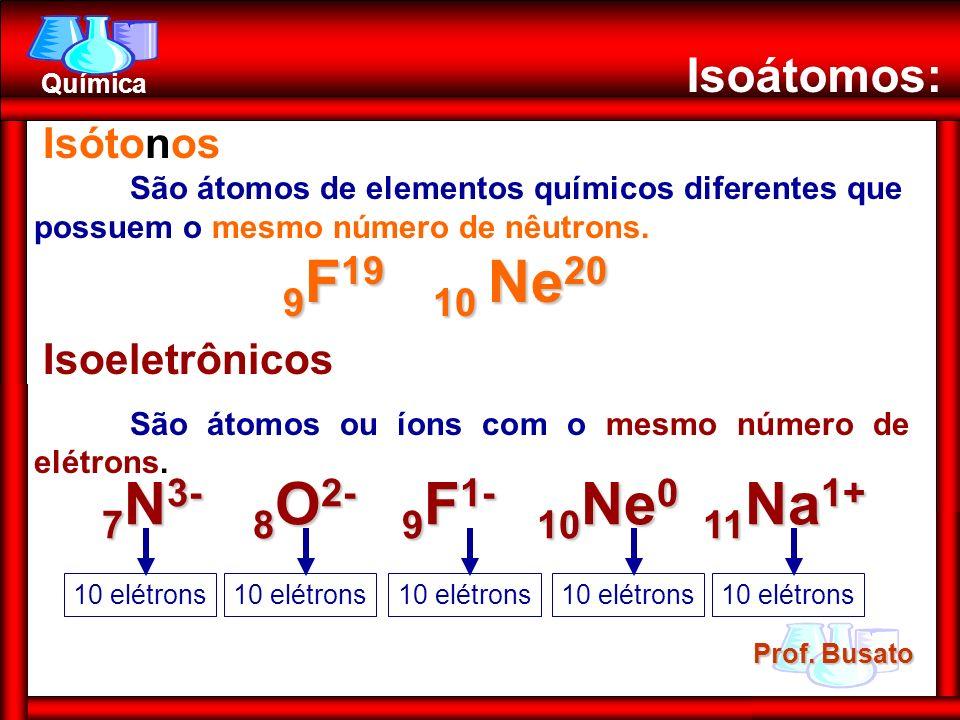9F19 10 Ne20 7N3- 8O2- 9F1- 10Ne0 11Na1+ Isoátomos: Isótonos