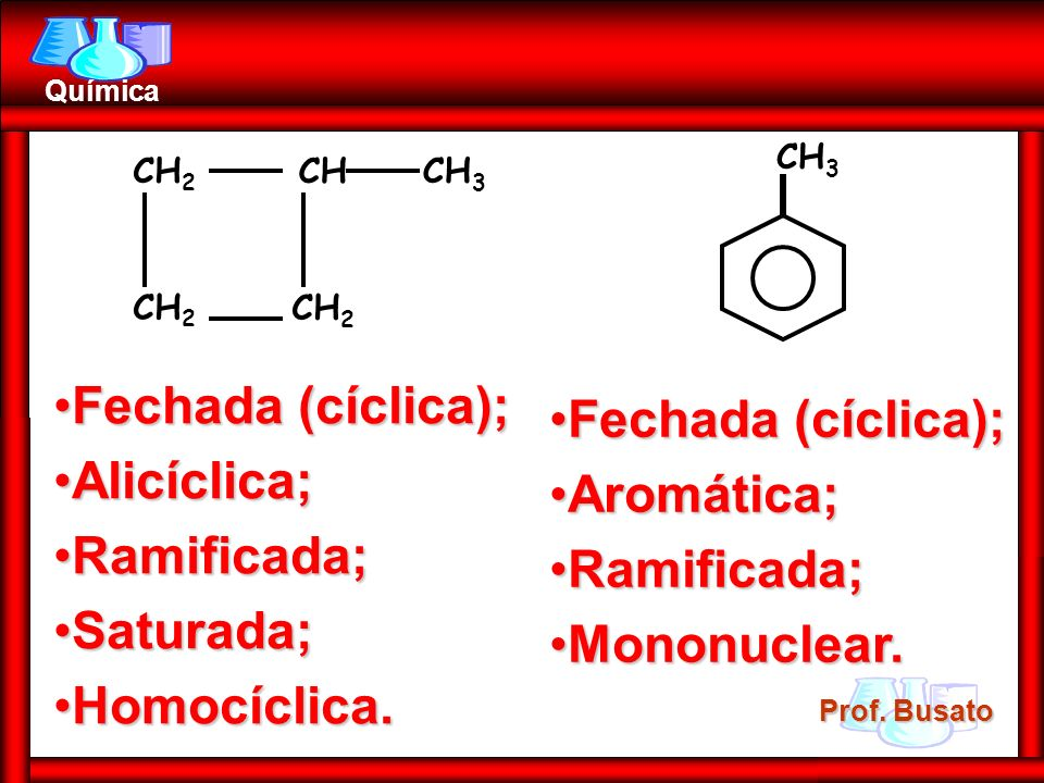 Fechada (cíclica); Fechada (cíclica); Alicíclica; Aromática;