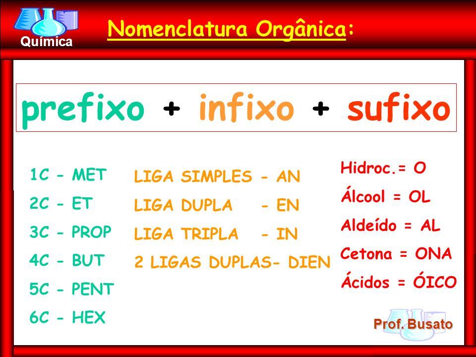 Nomenclatura Orgânica: prefixo + infixo + sufixo