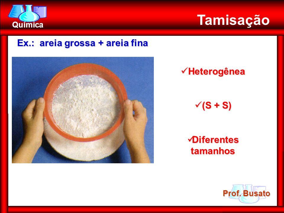 Tamisação Ex.: areia grossa + areia fina Heterogênea (S + S)