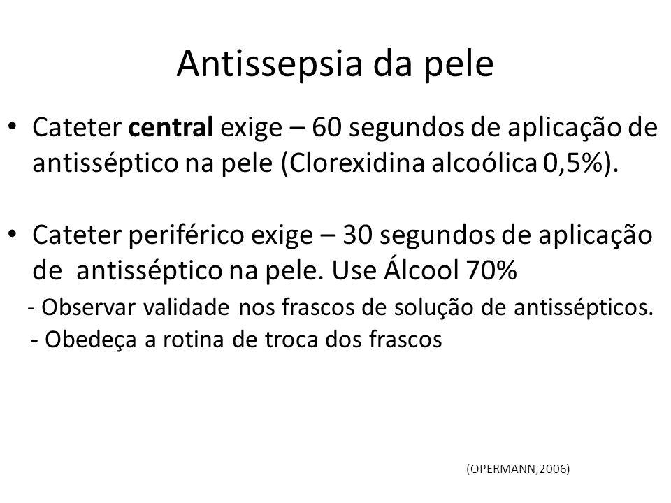 Antissepsia da pele Cateter central exige – 60 segundos de aplicação de antisséptico na pele (Clorexidina alcoólica 0,5%).