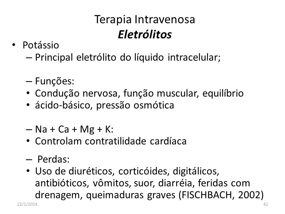Terapia Intravenosa Eletrólitos