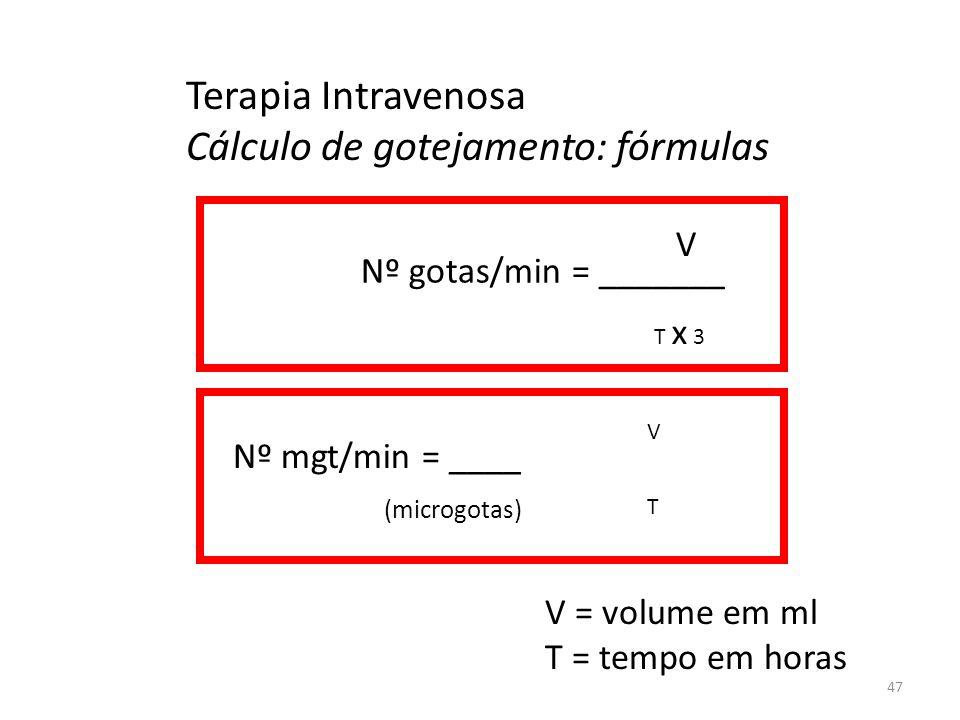 Terapia Intravenosa Cálculo de gotejamento: fórmulas