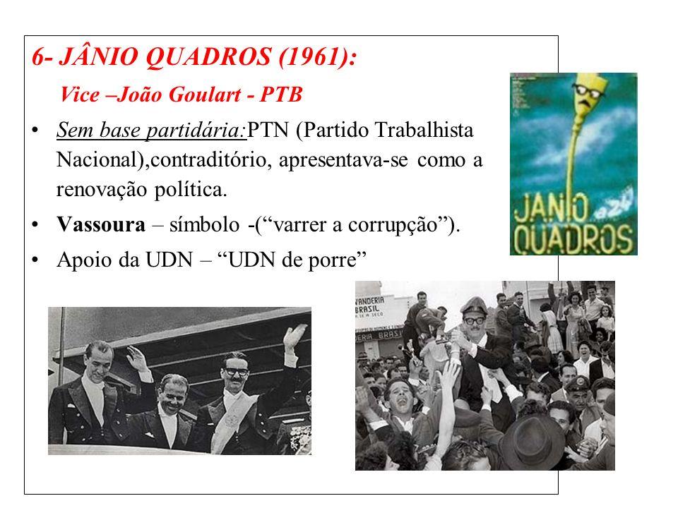 6- JÂNIO QUADROS (1961): Vice –João Goulart - PTB