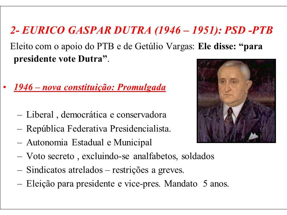 2- EURICO GASPAR DUTRA (1946 – 1951): PSD -PTB