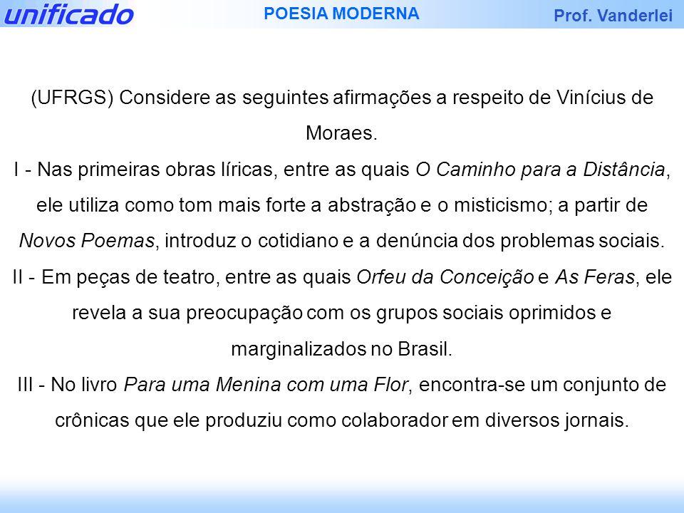 (UFRGS) Considere as seguintes afirmações a respeito de Vinícius de Moraes.