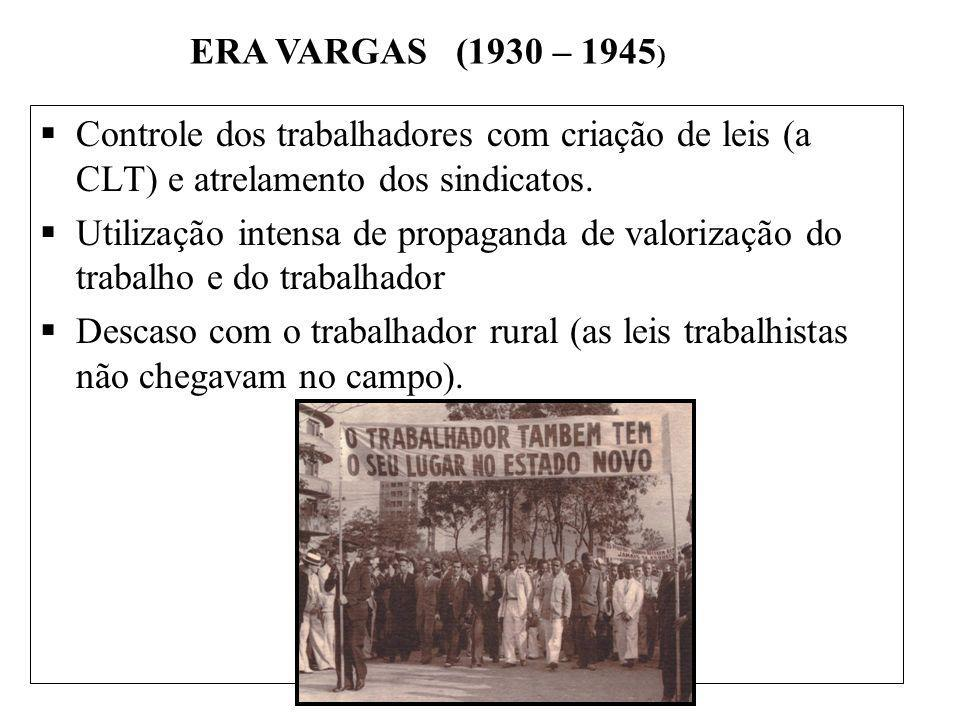 ERA VARGAS (1930 – 1945) Controle dos trabalhadores com criação de leis (a CLT) e atrelamento dos sindicatos.