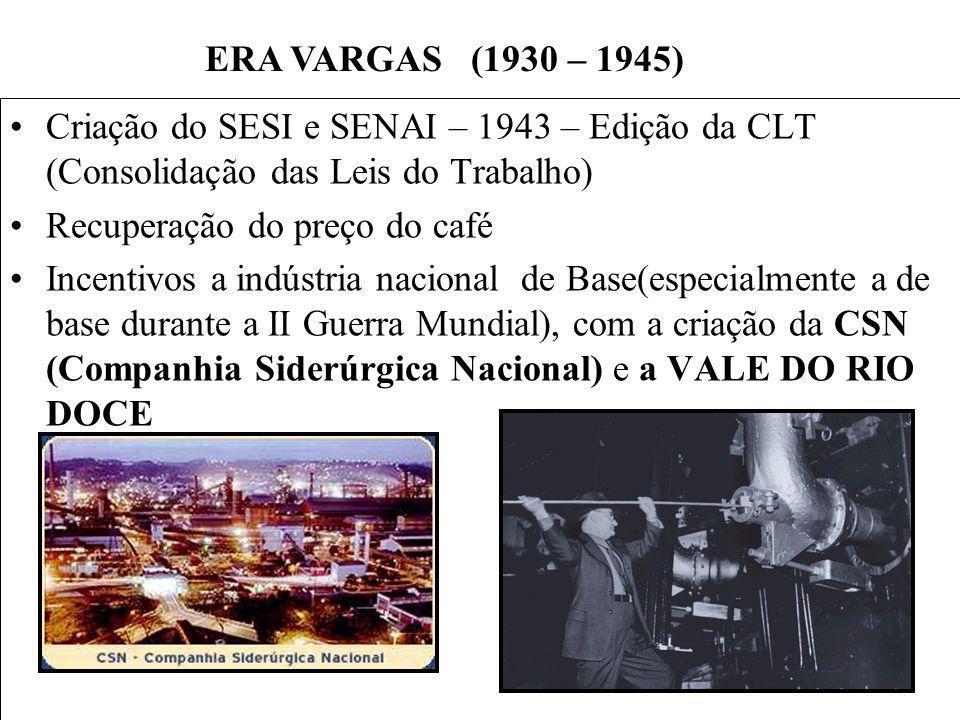 ERA VARGAS (1930 – 1945) Criação do SESI e SENAI – 1943 – Edição da CLT (Consolidação das Leis do Trabalho)