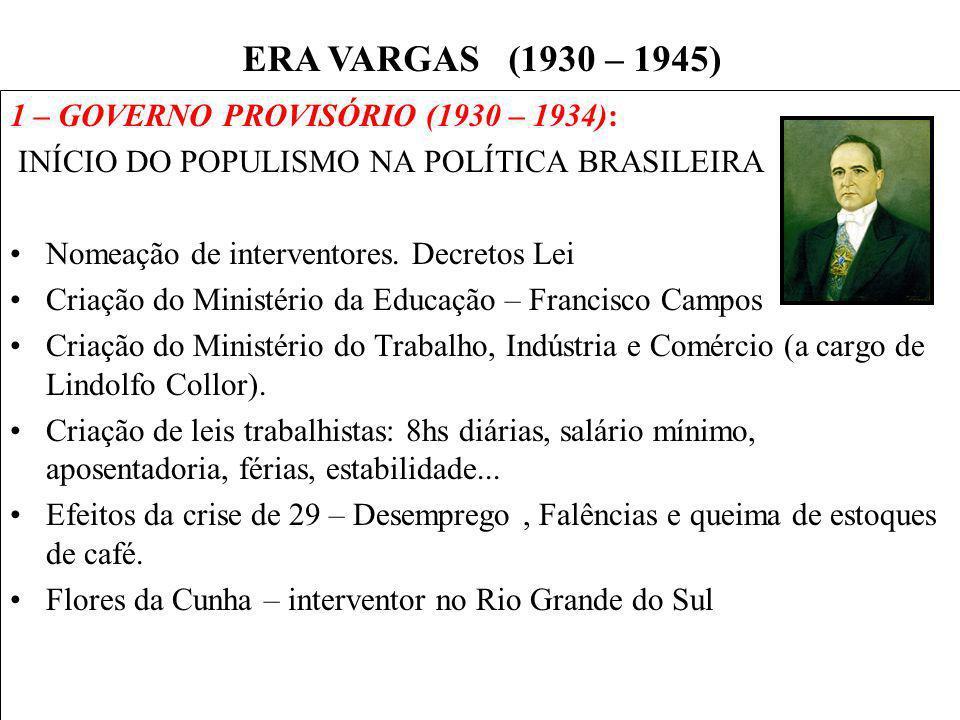 ERA VARGAS (1930 – 1945) 1 – GOVERNO PROVISÓRIO (1930 – 1934):