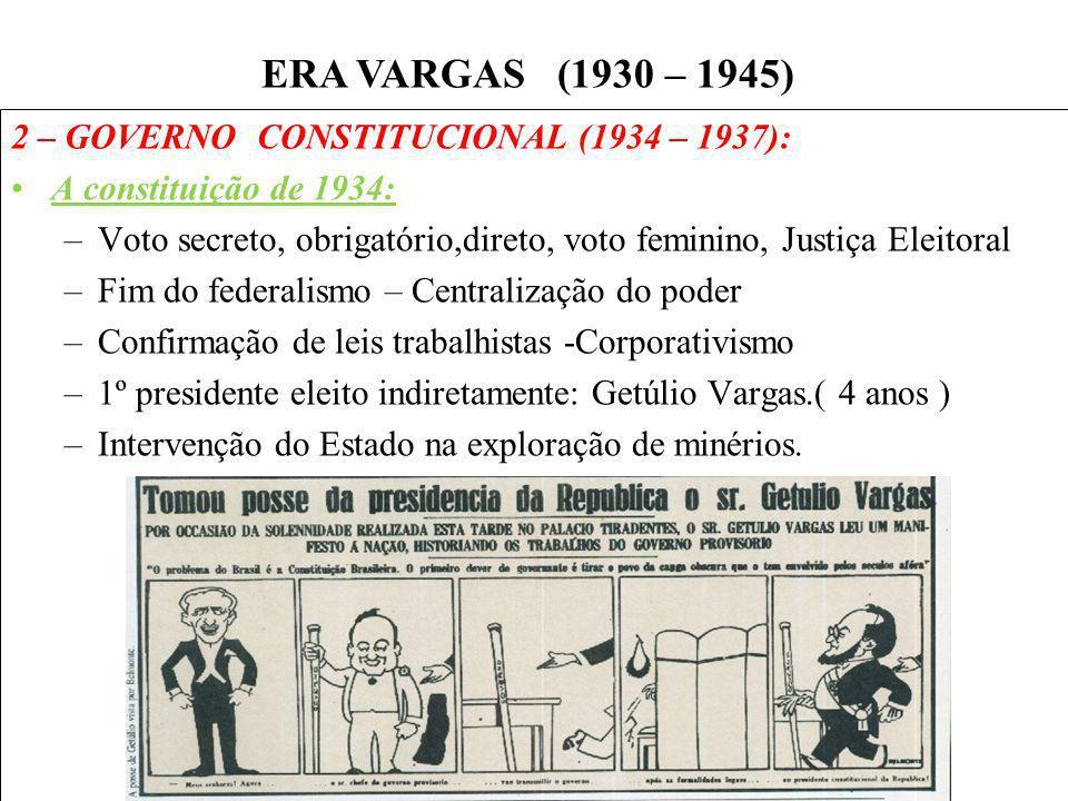 ERA VARGAS (1930 – 1945) 2 – GOVERNO CONSTITUCIONAL (1934 – 1937):