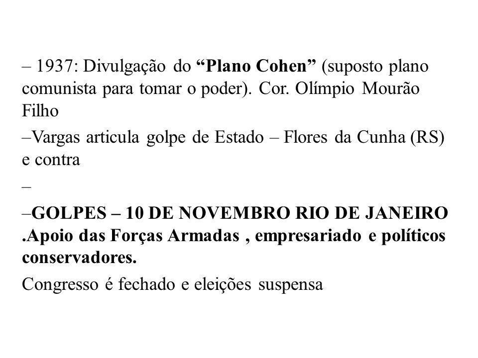 1937: Divulgação do Plano Cohen (suposto plano comunista para tomar o poder). Cor. Olímpio Mourão Filho