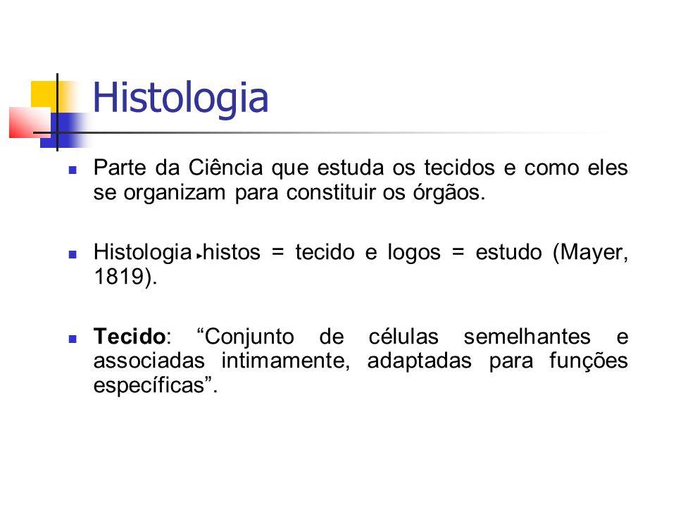 Histologia Parte da Ciência que estuda os tecidos e como eles se organizam para constituir os órgãos.