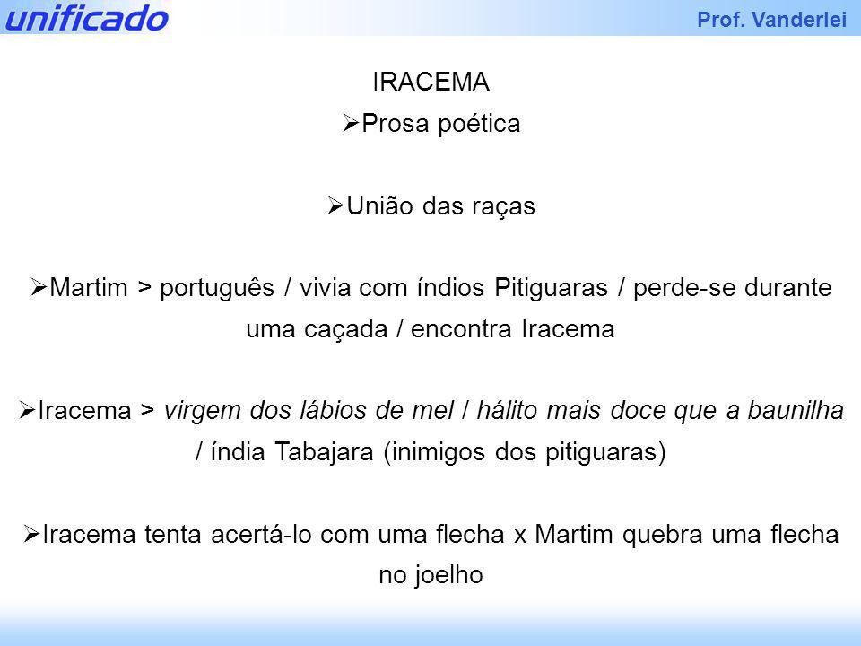 IRACEMA Prosa poética. União das raças. Martim > português / vivia com índios Pitiguaras / perde-se durante uma caçada / encontra Iracema.