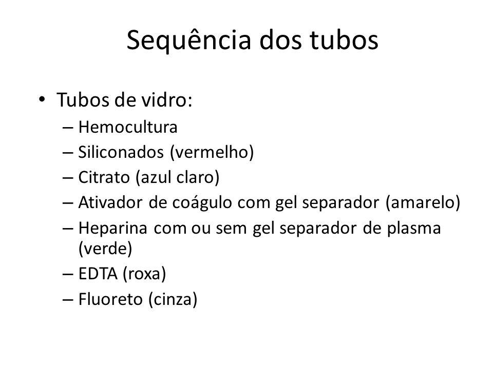 Sequência dos tubos Tubos de vidro: Hemocultura Siliconados (vermelho)