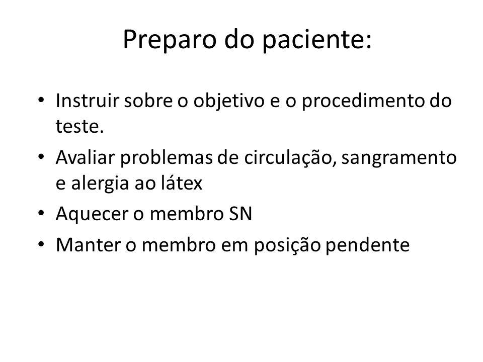Preparo do paciente: Instruir sobre o objetivo e o procedimento do teste. Avaliar problemas de circulação, sangramento e alergia ao látex.