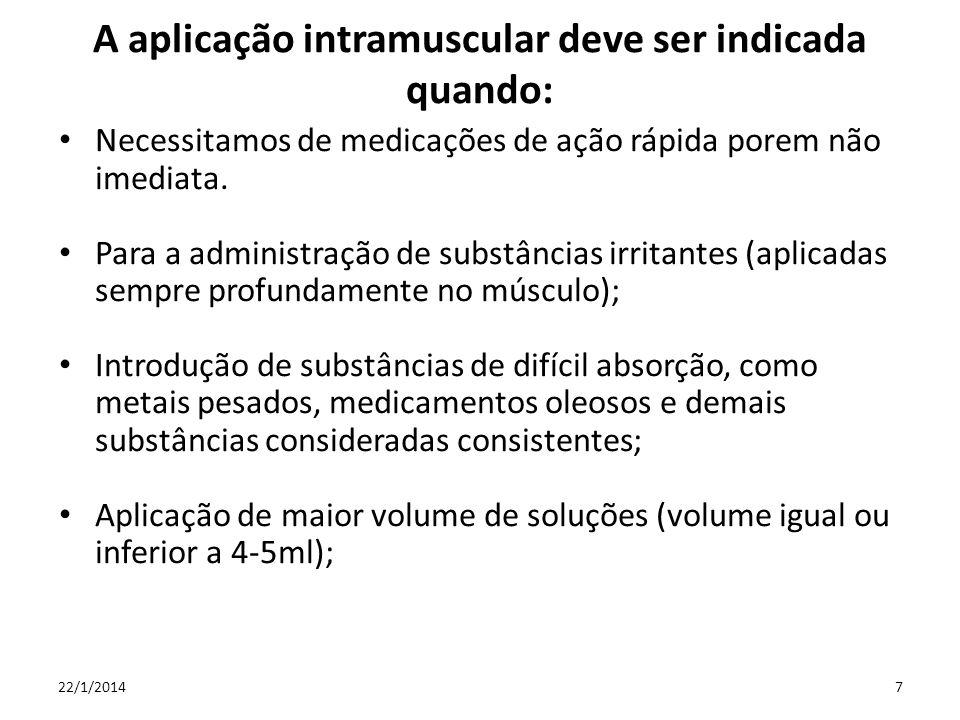 A aplicação intramuscular deve ser indicada quando: