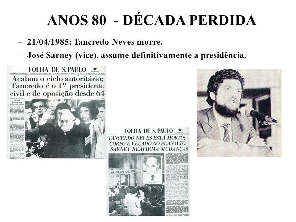 ANOS 80 - DÉCADA PERDIDA 21/04/1985: Tancredo Neves morre.