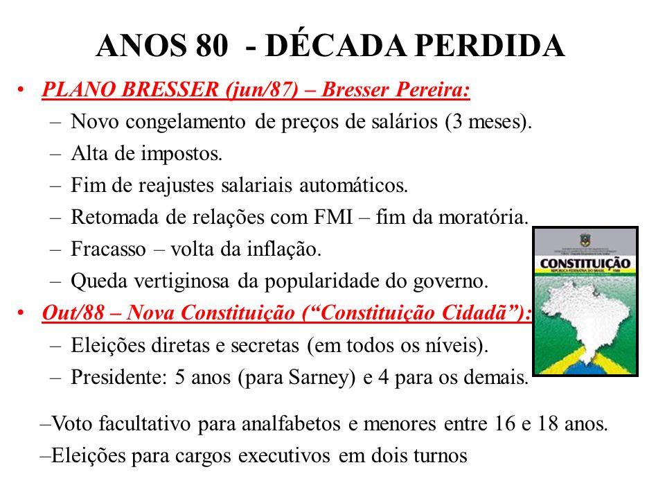 ANOS 80 - DÉCADA PERDIDA PLANO BRESSER (jun/87) – Bresser Pereira: