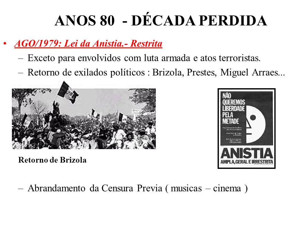 ANOS 80 - DÉCADA PERDIDA AGO/1979: Lei da Anistia.- Restrita