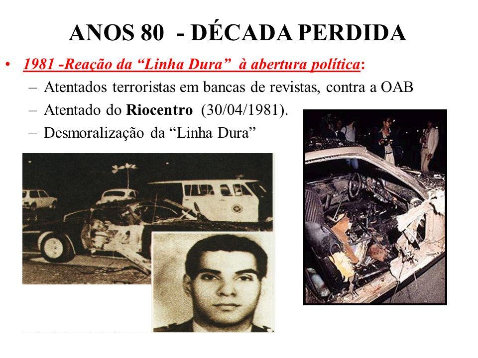 ANOS 80 - DÉCADA PERDIDA1981 -Reação da Linha Dura à abertura política: Atentados terroristas em bancas de revistas, contra a OAB.