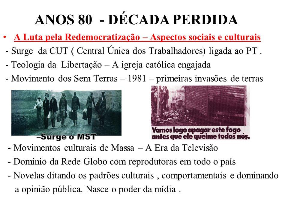 ANOS 80 - DÉCADA PERDIDAA Luta pela Redemocratização – Aspectos sociais e culturais.