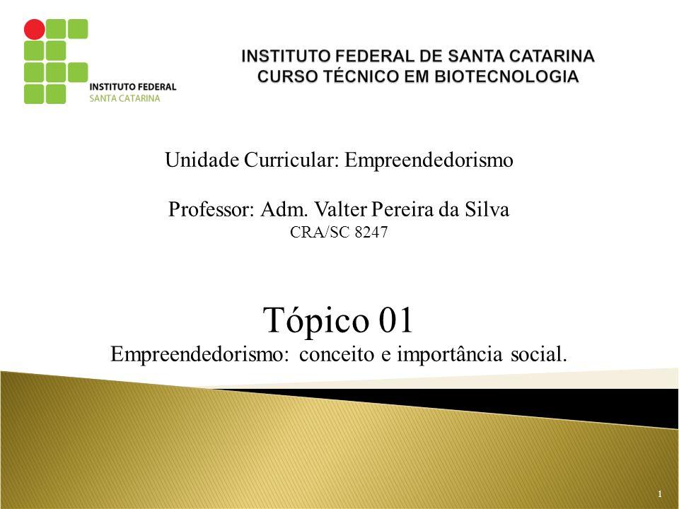 Tópico 01 Empreendedorismo: conceito e importância social.