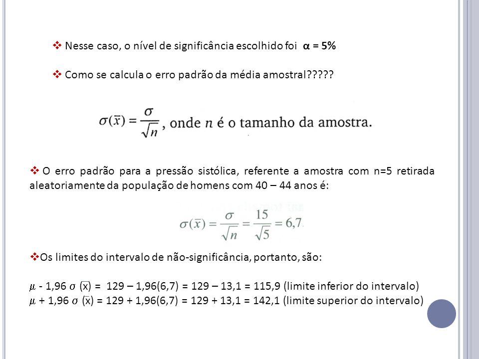Nesse caso, o nível de significância escolhido foi α = 5%