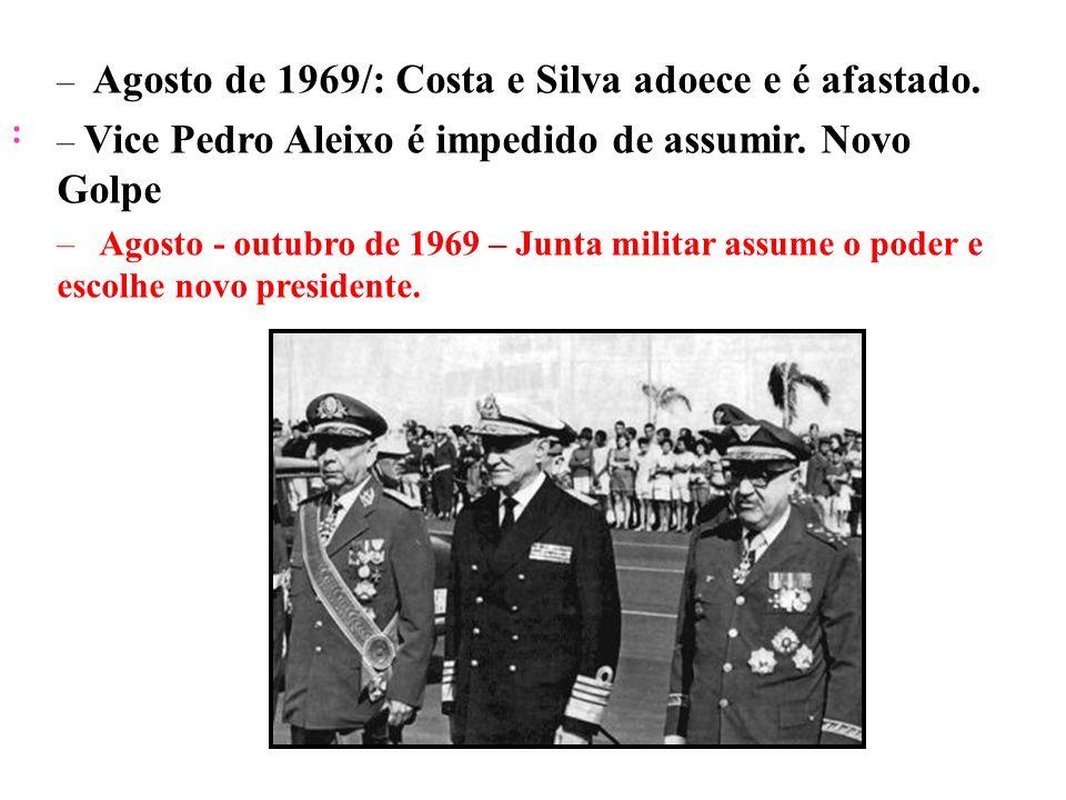 Agosto de 1969/: Costa e Silva adoece e é afastado.