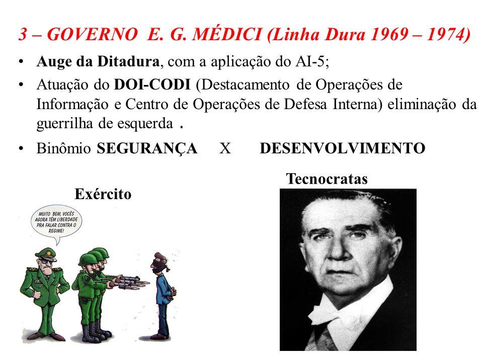 3 – GOVERNO E. G. MÉDICI (Linha Dura 1969 – 1974)